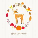 deer with autumn frame card