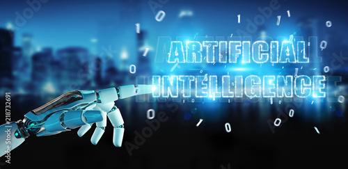 White cyborg hand using digital artificial intelligence text hologram 3D rendering © sdecoret
