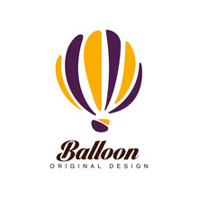 Balloon Original Design Crerative Badge  Hot Air Balloon Can Be Used For Corporate Brand Identity Summer Holidays Festival Travel Tourism  Illustration Sticker