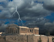 Parthenon thunder winter in Athens  Greece