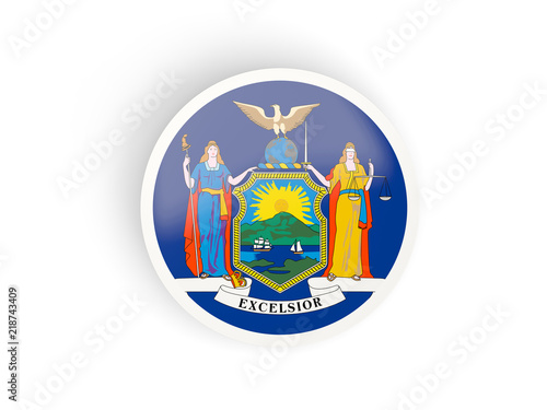 Round bended icon with flag of new york. United states local flags