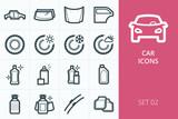 Car icons set. Set of tires, car fluids, body parts, auto glass, car mats icon