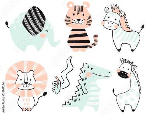 Fototapeta Crocodile, elephant, tiger, zebra, lion, giraffe, snake baby cute print set.