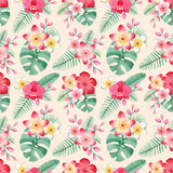 Watercolor illustrations of tropical flowers and leaves. Seamless tropical pattern