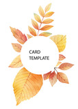 Watercolor autumn vector card template design of leaves and branches isolated on white background. - 218752202