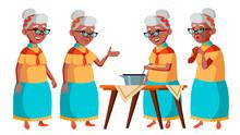Old Woman Poses Set  Black Afro American Elderly People Senior Person Aged Caucasian Retiree Smile Advertisement Greeting Announcement Design  Cartoon Illustration Sticker