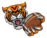 Tiger Holding American Football Ball