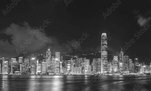 Fototapeta Panorama of Victoria Harbor of Hong Kong city at night
