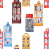 Watercolor house seamless pattern - 218760823