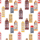 Watercolor house seamless pattern - 218760881
