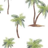 Watercolor palm tree pattern - 218761081