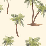 Watercolor palm tree pattern - 218761095