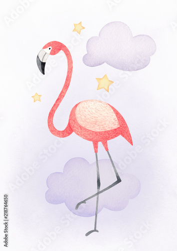 obraz lub plakat Watercolor illustration of a flamingo. Perfect for greeting card