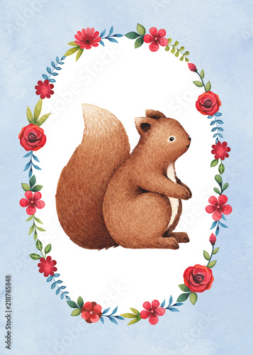 Watercolor illustration of a cute squirrel. Perfect for greeting cards - 218765848