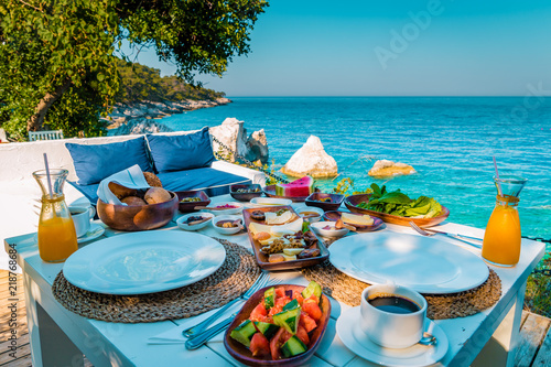 Turkish breakfast with a view over the ocean of Fethiye Turkey