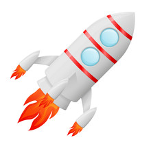 Flying Rocket Colored Cartoon Drawing Sticker