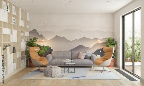Modern living room, 3d illustration - 218771619