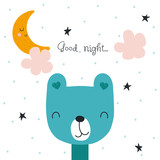 Kids print with funny bear and bedtime slogan. Vector hand drawn illustration. - 218772257