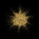 Golden glitter particles explosion or star dust splatter. Vector abstract sparkling firework confetti on black background for Christmas or luxury fashion cosmetic design - 218773815