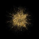 Golden glitter particles splatter or gold glittery dust splash explosion. Vector abstract sparkling firework or glittering powder on black background - 218773848