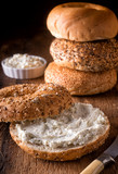 Bagel with Herb Cream Cheese - 218777425