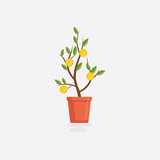 Flat money plant. Flat design tree with money dollar. Business investment symbol