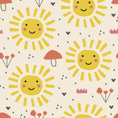 Abstract cartoon nursery pattern with sun , fruits. Summer poster.