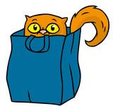 Niedliche Cartoon Katze versteckt sich in Beutel - 218796468