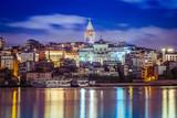 Landscape, City, Night, Lights, Turkey, sea, sunset, sun, sunrise, boats, ships, bridges, towers, Galata Tower,  mosque,