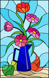 Illustration in stained glass style with bouquets of bright flowers in a metal blue jug, pears and apples on table on blue background