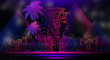 Abstract ancient Egyptian background, Cleopatra. Dark background, light neon. - 218828620