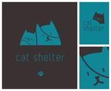 logo pour refuge de chats, centre d'accueil animal ou pension féline