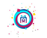 Underground sign icon. Metro train symbol. Colorful button with icon. Geometric elements. Vector - 218847051