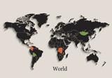 World map Black colors blackboard separate states individual vector