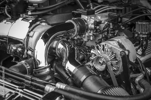 A Custom Chrome Rot Rod Muscle Car Engine