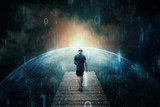Futuristic business man and dark cyberspace background with computer binary numbers background. - 218859604