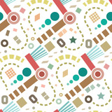 Retro abstract geometric vector seamless pattern background 1 - 218859620