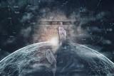 Barefoot man walking and crossing artistic cyberspace bridge. - 218859633
