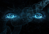 Close up of human eyes on digital computer blockchain chain background. - 218859651