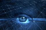 Close up of human eye on futuristic cyberspace network background. - 218859668