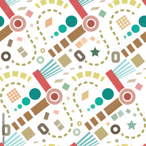 Retro abstract geometric vector seamless pattern background 1