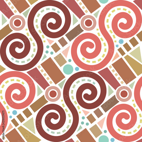 Retro abstract geometric vector seamless pattern background 3