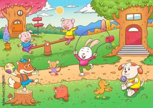 dzieci-zwierzatka-na-placu-zabaw