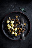Prepared mushrooms and gnocchi dish in the plate,selective focus - 218864812
