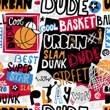 Vector sketch basketball seamless pattern for boys, cool dude, bro, urban. Hand-drawing lettering, slogan. Print grunge design for T-shirts, banners, flyers, children's party, clothes, social media.