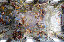 """Постер, картина, фотообои """"Paintings and frescos on the ceiling of a catholic Church of St. Ignatius of Loyola at Campus Martius, in Rome, Italy"""""""