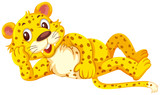 A cute leopard on white background