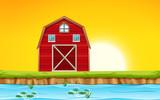 Red barn scene sunset - 218881847
