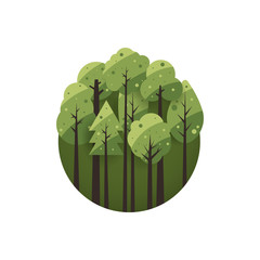 Eco style life green forest flat design background. Vector illustration