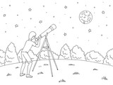 Boy is looking at the stars through a telescope. Night landscape graphic black white landscape sketch illustration vector - 218896835